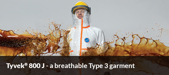 Tyvek 800 J - a breathable Type 3 garment
