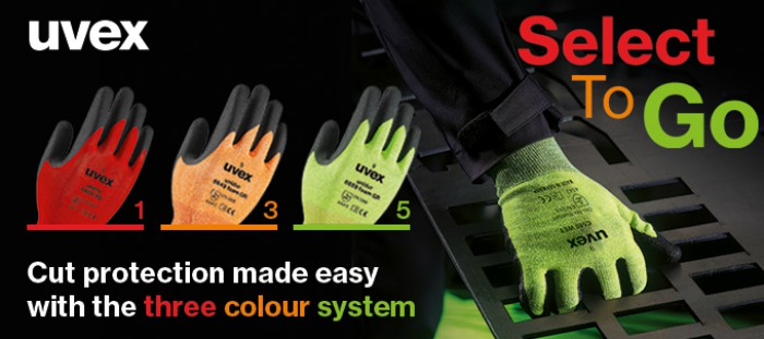 uvex select to go. Cut protection made easy with three colour system