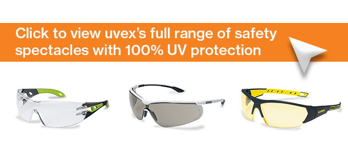 uvex's full range of safety spectacles with 100% UV protection