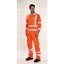 Leo Barricane Coolviz Plus Long Sleeve High-Visibility Polo Shirt - High-Visibility Orange