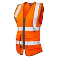 Leo Lynmouth Women's Executive Sleeveless Waistcoat - High-Visbility Orange