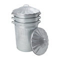 Stacking Galvanised Dustbin with Metal Lid