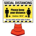 Social Distancing - Cone Attachment Sign Including Fittings
