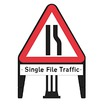 Q Road Narrows on Offside with Single File Traffic Supp Plate Dia 517 Sign