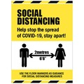 Social Distancing - Anti-Slip Polycarbonate Floor Graphic - Help Stop the Spread