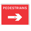 Dia 567.1 Pedestrians Reversible Arrow Sign Plate with Frame