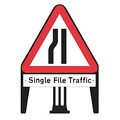 Q Sign Road Narrows on Nearside With Single File Traffic Supp Plate
