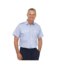 Double Two Polycotton Short Sleeved Pilot Shirt