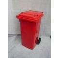 Plastic Bin Two-Wheeled Red 120 Litre