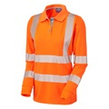 Leo Pollyfield Cooviz Women's High-Visibility Long Sleeve Polo Shirt - High-Visibility Orange